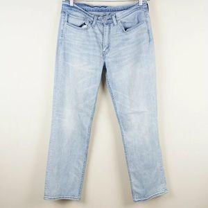Levis 514 Straight Fit Light Wash Blue Jeans 34x31